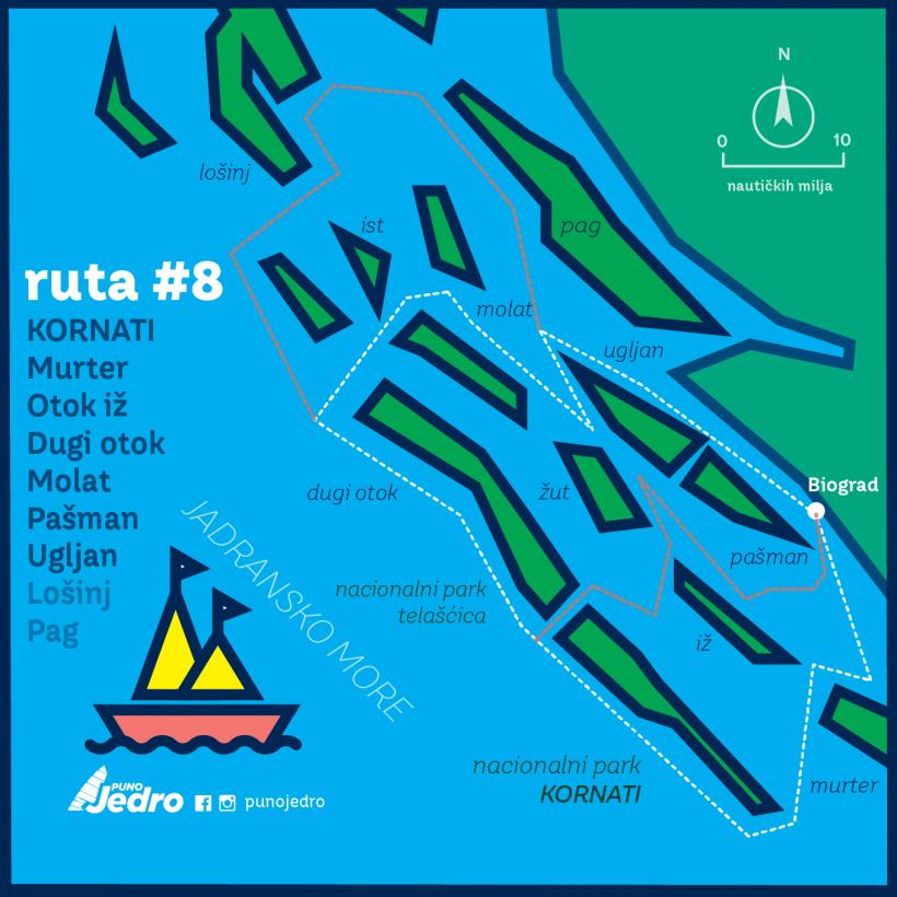 Puno jedro Mapa_ruta8 Hrvatska-Kornati-01